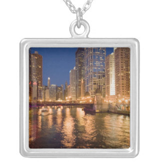 Chicago, Illinois, Skyline and Chicago River at 2 Silver Plated Necklace