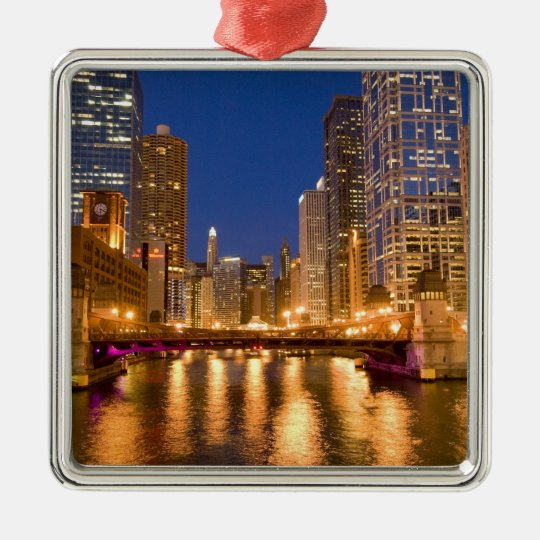 Chicago, Illinois, Skyline and Chicago River at Metal Ornament