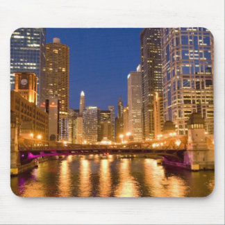 Chicago, Illinois, Skyline and Chicago River at Mouse Pad
