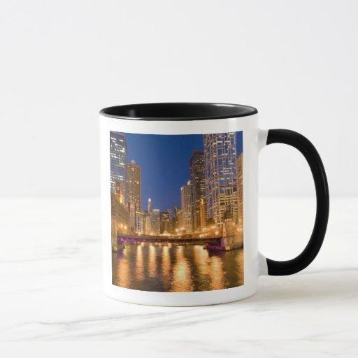 Chicago, Illinois, Skyline and Chicago River at Mug