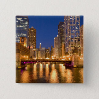 Chicago, Illinois, Skyline and Chicago River at Pinback Button