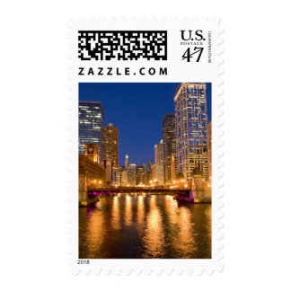 Chicago, Illinois, Skyline and Chicago River at Postage