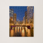 Chicago, Illinois, Skyline and Chicago River at Jigsaw Puzzles