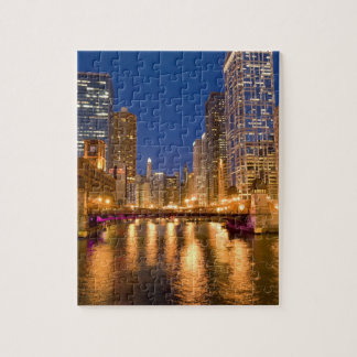 Chicago, Illinois, Skyline and Chicago River at Jigsaw Puzzle