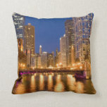 Chicago, Illinois, Skyline and Chicago River Throw Pillow