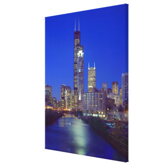 Chicago, Illinois, Skyline at night with Chicago Canvas Print