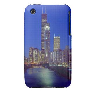 Chicago, Illinois, Skyline at night with Chicago iPhone 3 Cases