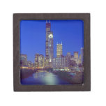 Chicago, Illinois, Skyline at night with Chicago Jewelry Box
