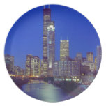 Chicago, Illinois, Skyline at night with Chicago Melamine Plate