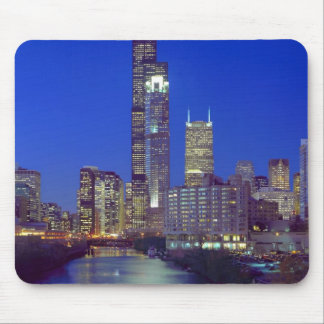 Chicago, Illinois, Skyline at night with Chicago Mouse Pad