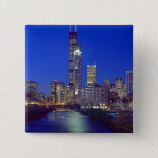 Chicago, Illinois, Skyline at night with Chicago Pinback Button