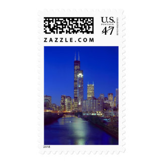 Chicago, Illinois, Skyline at night with Chicago Postage