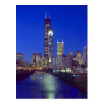 Chicago, Illinois, Skyline at night with Chicago Postcard