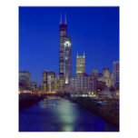 Chicago, Illinois, Skyline at night with Chicago Poster