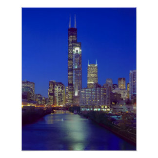 Chicago Illinois Skyline at night with Chicago Print