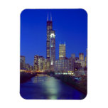 Chicago, Illinois, Skyline at night with Chicago Rectangular Photo Magnet
