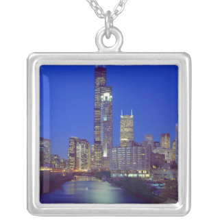 Chicago, Illinois, Skyline at night with Chicago Silver Plated Necklace