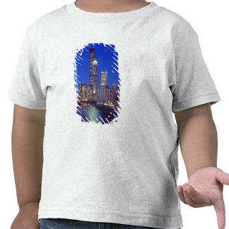 Chicago, Illinois, Skyline at night with Chicago Shirt