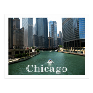 Chicago Illinois Skyline & Canal  Travel Post Card