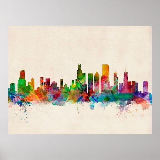 Chicago Illinois Skyline Cityscape Print