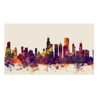Chicago Illinois Skyline Double-Sided Standard Business Cards (Pack Of 100)
