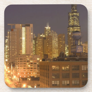 Chicago, Illinois, Skyline from West Loop at Beverage Coaster
