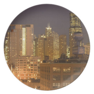 Chicago, Illinois, Skyline from West Loop at Dinner Plate