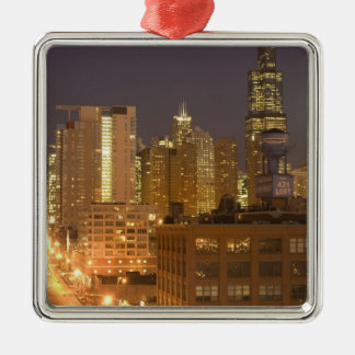 Chicago, Illinois, Skyline from West Loop at Christmas Ornaments