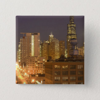 Chicago, Illinois, Skyline from West Loop at Pinback Button