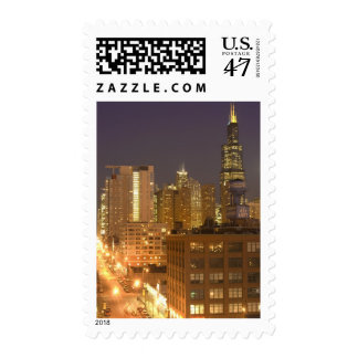 Chicago, Illinois, Skyline from West Loop at Postage