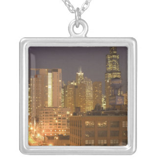 Chicago, Illinois, Skyline from West Loop at Silver Plated Necklace