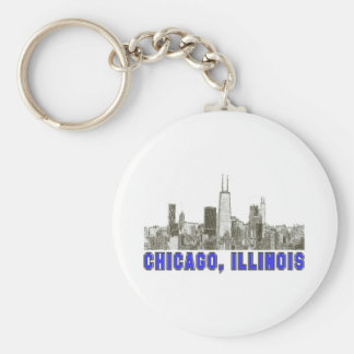 Chicago, Illinois Skyline Keychain