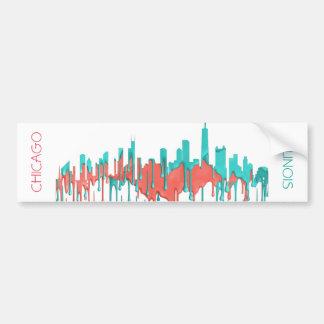 CHICAGO, ILLINOIS SKYLINE PR - PB - BUMPER STICKER