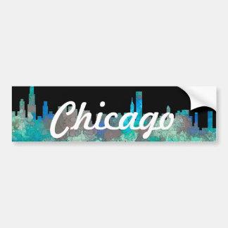 Chicago Illinois Skyline-SG-Jungle Bumper Sticker