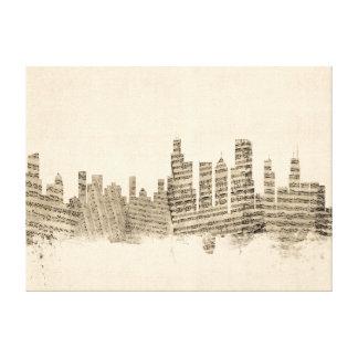 Chicago Illinois Skyline Sheet Music Cityscape Canvas Print