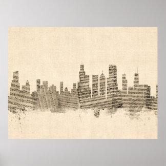 Chicago Illinois Skyline Sheet Music Cityscape Poster