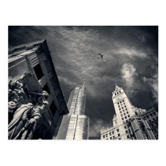 Chicago Illinois Skyscrapers in Black and White Postcard