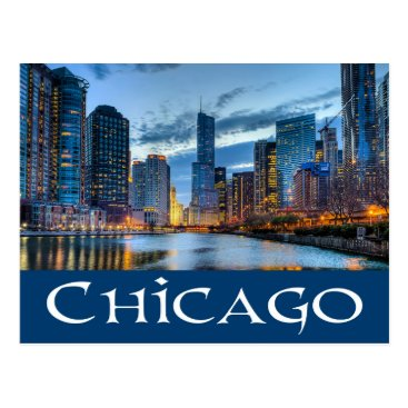 USA Themed Chicago Illinois USA - Chicago Skyline At Sunset Postcard