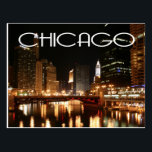 """Chicago Illinois USA - Night Chicago Skyline Postcard<br><div class=""""desc"""">Welcome to Chicago, Illinois! Once you arrive you will never want to leave. This postcard features an image of the beautiful Chicago skyline with the lights dancing on the Chicago river. Chicago is nicknamed the &quot;windy city&quot; and is the third largest city in the United States. Chicago Travel Postcards are...</div>"""