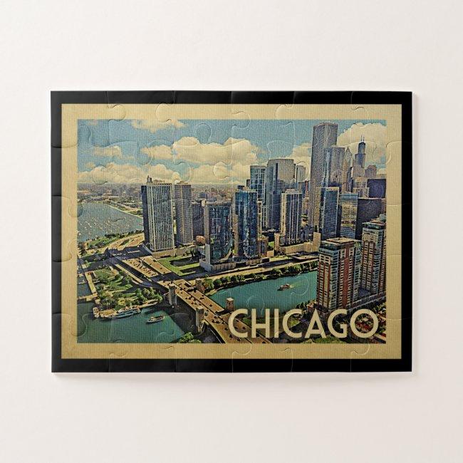 Chicago Illinois Vintage Travel Jigsaw Puzzle