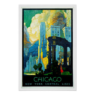 Chicago Illinois Vintage Travel Poster at Zazzle