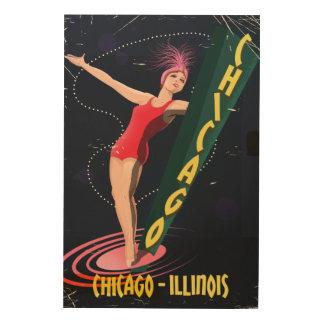 Chicago Illinois vintage TRAVEL POSTER Wood Print