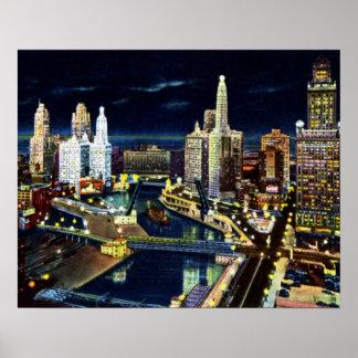 Chicago Illinois Wacker Drive at Night Poster