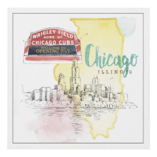 Chicago, Illinois | Watercolor Sketch Image Panel Wall Art