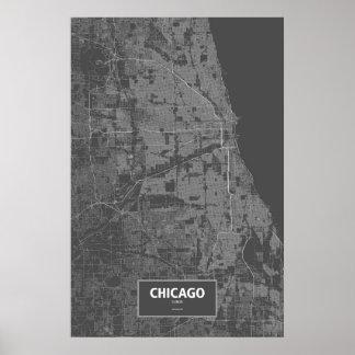 Chicago, Illinois (white on black) Poster