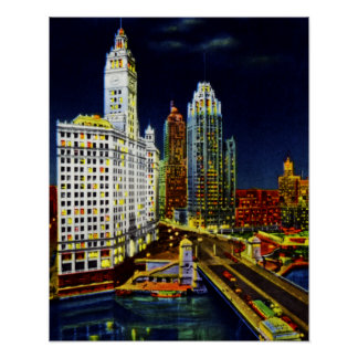 Chicago Illinois Wrigley Buildings by Night Posters