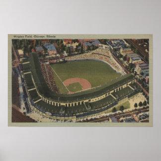 Chicago, Illinois - Wrigley coloca Cubs Póster