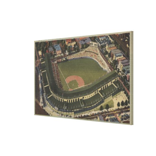 Chicago, Illinois - Wrigley Field Cubs Stretched Canvas Print