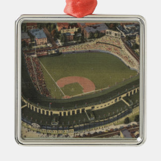 Chicago, Illinois - Wrigley Field Cubs Square Metal Christmas Ornament