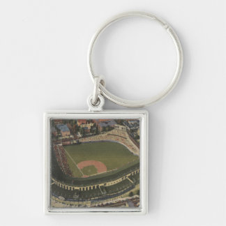 Chicago, Illinois - Wrigley Field Cubs Silver-Colored Square Keychain